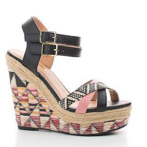 SODA Raffia Wedge Sandal 5 1/2